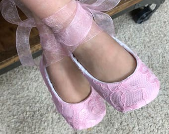 Pink Lace Ballet Slippers - Flower Girl Shoes - Valentine Baby and Toddler Girl  - Princess Shoes - Dress Up Shoes