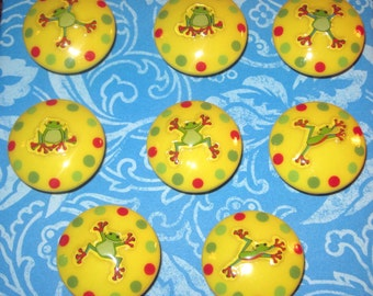 REaDY To SHIP - Really Fun - HAPPY JeLLY FROGS - Hand Painted YELLoW Knobs - Set of 8 - Great for Kid's Room, Nursery