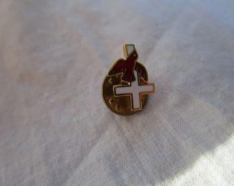 Vintage Enameled Christian Cross & Red Dove Pinback