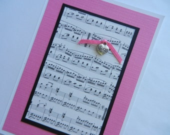 """Sing Music Greeting Card with heart shaped """"sing"""" metal charm"""