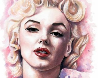Marilyn Monroe Watercolor Painting - Fine Art Print by Emily Luella
