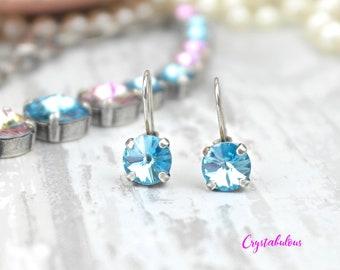 Blue Earrings, Crystal Earrings, Swarovski Earrings, Dangle Earrings, Drop Earrings, Bridal Earrings, Bridesmaid Earrings, Party, Fashion.