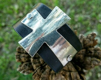 Beautiful Oversized Cross Leather Cuff Bracelet