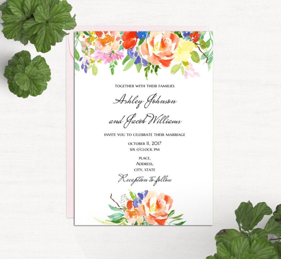Boho Blumen Hochzeitseinladung Vorlage Word Sommer lädt