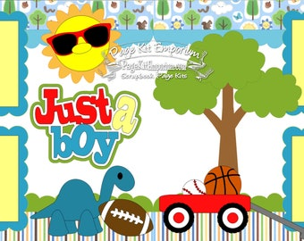Scrapbook Page Kit Just A Boy Summer Toys 2 page Scrapbook Layout Kit 074