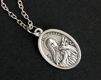 Saint Therese Necklace. Catholic Necklace. St Therese Medal Necklace. Patron Saint Necklace. Christian Jewelry. Religious Necklace.