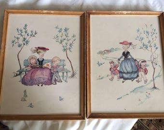 Vintage Nanny Prints Childrens Art Nursery Room