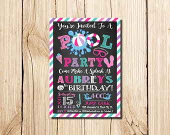 Pool Party Invitation,  Pool Party Birthday Invitations, for girl, pink, turquoise, Swimming Pool Birthday Party, Pool, Summer, Chalkboard