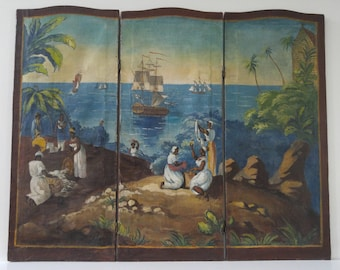 Collectible 3-PC Canvas Screen/Divider of early-American-Indentured Servant Coastal Scene