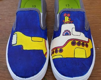 Yellow submarine hand painted shoes