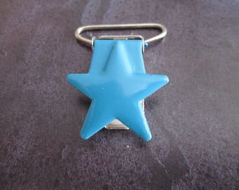 1 clip / pacifier metal star in blue color