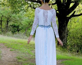 Boho Wedding Dress, Lace Wedding Dress, Simple Wedding Dress, White Wedding Dress, Sleeve Wedding Dress, Long Wedding Dress, Vintage Wedding