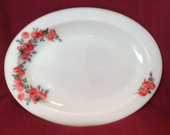 "Pyrex JAJ Rose Oval Serving Platter 13"" x 9 3/4"" circa 1961"