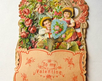 German Valentine Card Honeycomb and 3-D Vintage Valentine Card 1930s Pink Roses