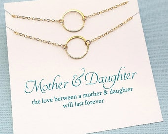 Mother Daughter Gift Set | Eternity Necklace Jewelry Set, Circle Necklace Gift for Mom, Mothers Day Gift, Mom Gift, Gift from Daughter |MD01