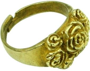 Gold Flower Ring Womens Gold Ring Gold Mens Ring Gold Circle Ring Cool Ring Formal Ring Designer Ring Biker Gold Ring Punk Ring Goth 51G