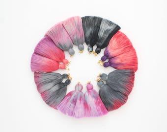 Dyed tassel earrings. Oversized earrings. Statement earrings. Tassel jewelry. Long cotton tassels. Fringe earrings. Black red pink/FRINGY 5
