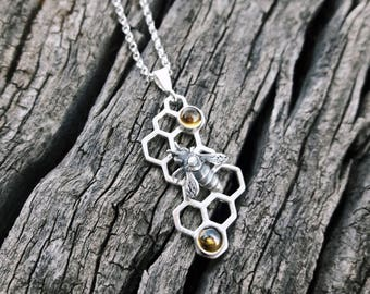 "Sterling Silver and Citrine Honeycomb ""Hive"" Pendant"