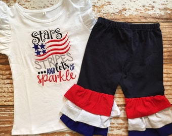 Girls Monogrammed Outfit, Ruffle Capris, Memorial Day, Fourth of July Outfit, Red White and Blue, Monogram Outfit, Holiday Outfit