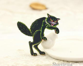 4pcs Wooden Black Cat Charm , Laser Cut Wood Halloween Cat Pendant, Perfect for Necklace Brooch - HW094E