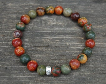 Picture Jasper Bracelet,Picasso Jasper Gemstone Beads,8mm Beads,Elastic Bracelet,Gemstone Stretch Bracelet, Man,Woman,Beaded Jewelry,Gift