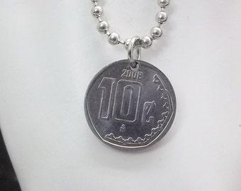 Mexican Coin Necklace, 1 Centavo, Coin Pendant, Ball Chain, Men's Necklace, Women's Necklace, 2008