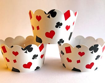 Casino Cupcake Wrappers, Casino Cupcake Holders, Casino Party, Wedding Bachelor Party, Poker Las Vegas Wrappers - Set of 12