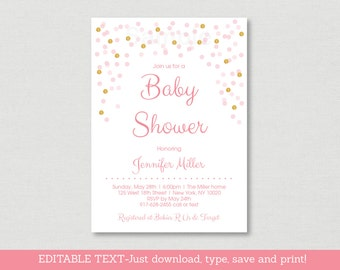 Blush Pink & Gold Baby Shower Invitation / Glitter Baby Shower Invite / Glitter Confetti / INSTANT DOWNLOAD Editable PDF A161