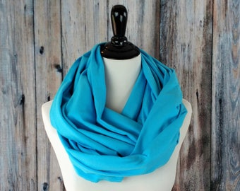 Clothing Gift - Blue Scarf - Gift for Her - Chunky Scarf - Infinity Scarf - Light Blue Scarf - Blue Infinity Scarf - Aqua Scarf