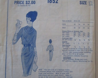 Modes Royale 1852 Women's 60s Blouse Sheath Dress with Cowl Neckline Sewing Pattern Size 12 Bust 32