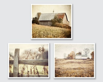 Rustic Country Landscape Prints or Canvas Set, Country Wall Gallery Set, Gold, Beige, Neutral Wall Gallery, Barn Print.