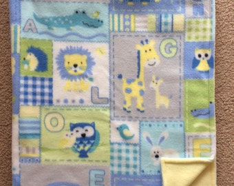 Crib Blanket, Fleece Zoo animal Blanket, Baby Blanket, Toddler/Child Blanket, Tummy Time Blanket, Reversible Blanket,