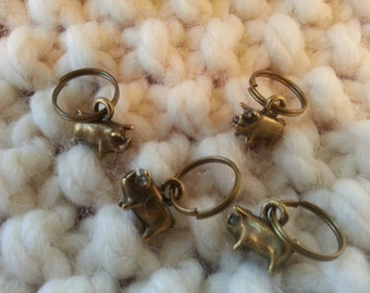 Knitting Stitch Markers - Rustic pigs