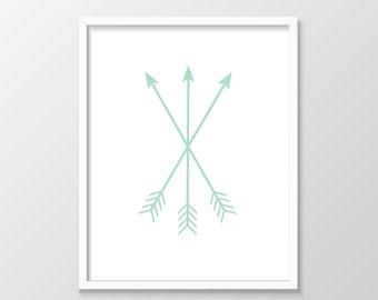 Mint Nursery Decor, Mint Arrows Printable Art, Mint Arrows Print, Mint Green Decor, Arrows Print, Mint Printable Art, Mint Print