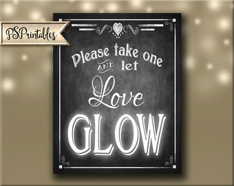 Let Love Glow, Glow Stick wedding sign, Printable DIY wedding sign, Chalkboard Wedding sign, glow stick send off sign - Rustic Collection