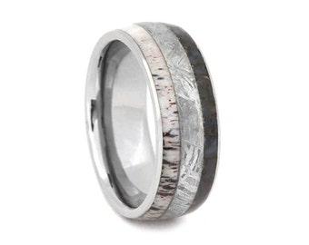 Titanium Ring with Gibeon Meteorite, Dinosaur Bone and Deer Antler Inlays