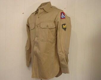 Vintage shirt, military shirt, 1950s shirt, Army shirt, shoulder patch,vintage clothing, medium