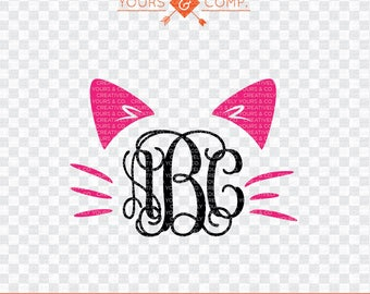 Cat Monogram SVG Cutting File,  SVG dxf eps and png Files Cutting Machines Silhouette Cameo