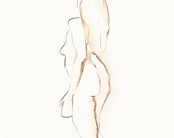 Dancer Drawing, Triumph, Original Ink, Figure Drawing 7x10, Gift for Dancer, Dance Fine Art, Pen and Ink,Dance Art, Feminist Art
