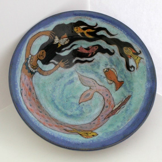Dee Cox Mermaid Bowl, Vintage 80s Blue Fish Ocean Art Studio Pottery