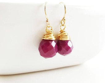 Ruby Earrings - 14k Gold Filled Earrings - Drop Earrings - Dainty Gemstone Teardrop Earrings - 14k Gold Filled - Gift for Her