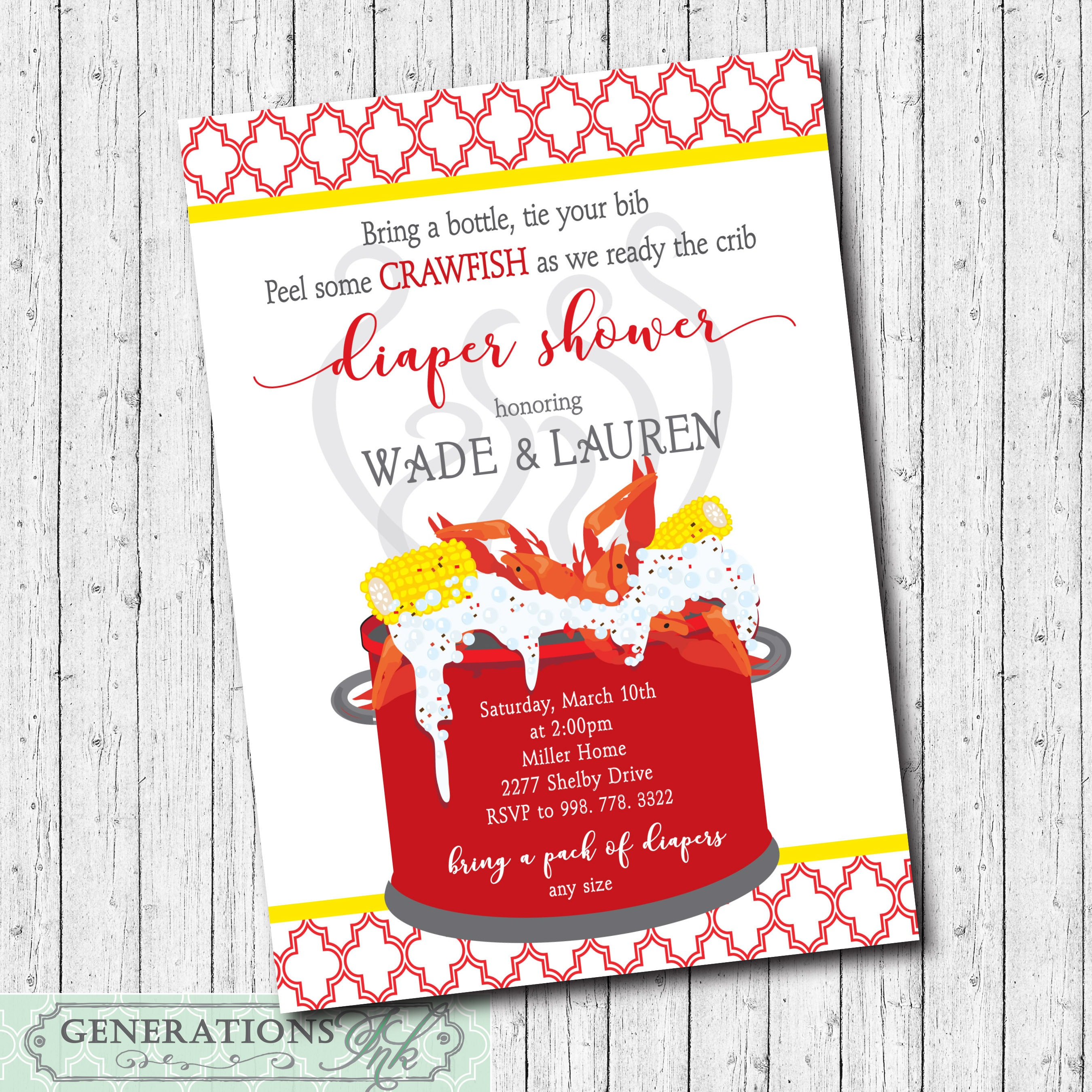 Crawfish Boil Invitation Diaper Shower printable/Digital