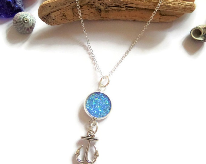 anchor necklace, sea necklace, sea jewellery, ocean jewelery, druzy crystal, boat gift, nautical necklace, sea inspired, sandykissesuk