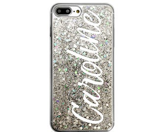 Personalized Glitter iPhone X Case, 8 Plus, Galaxy S8, 6s, 6 Plus, Gifts for Her, Mom, Custom Name Phone Case, Glitter Phone Case,
