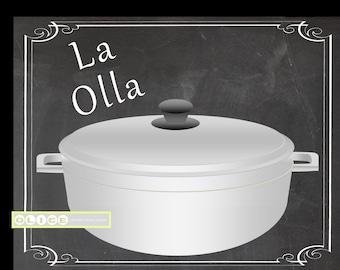La Olla - Puerto Rican rice pot - Nostalgic Puerto Rican Prints - Puerto Rican Art - Nostalgic rice pot every home had - chalkboard -
