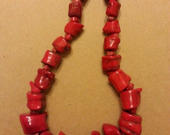 Fun & Chunky Red Coral Necklace