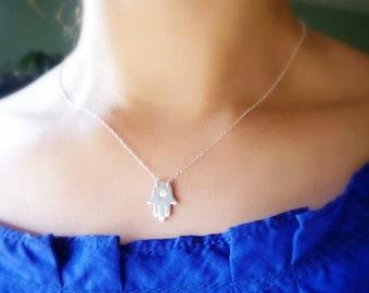 Gold Hamsa Necklace,Hand Of Fatima Necklace,Hand Necklace,Silver Hamsa Necklace,Gold Yoga Charm Necklace-Evil Eye Necklace-Momentusny