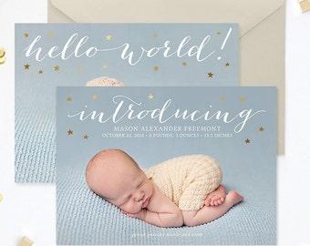Birth Announcement Template, Birth Announcement Template Girl, Birth Announcement Boy, Photography Templates, Photoshop Template - BA179
