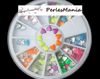 1 box of 6cm Nail Art multicolored neon heart 1169691, DIY
