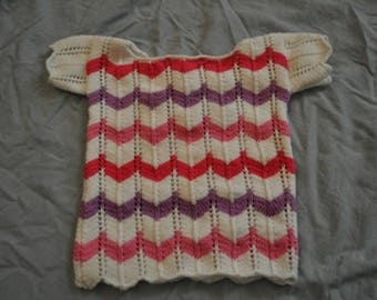 6 months short sleeve striped hand knit sweater
